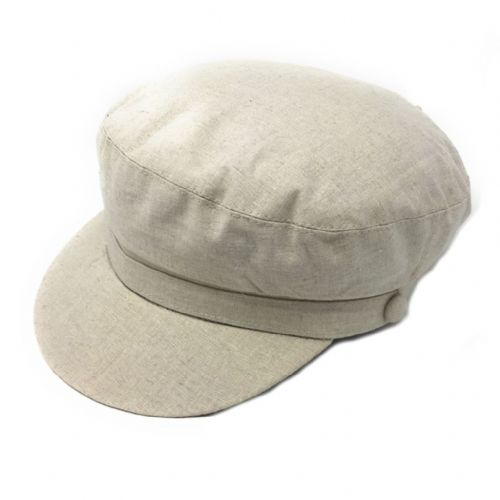 Linen Barge Fisherman Cap - fully lined - Cream